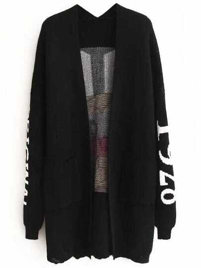 Black Monkey Pattern Drop Shoulder Long Cardigan With Pockets