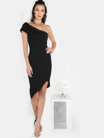One Shoulder Asymmetric Midi Dress BLACK