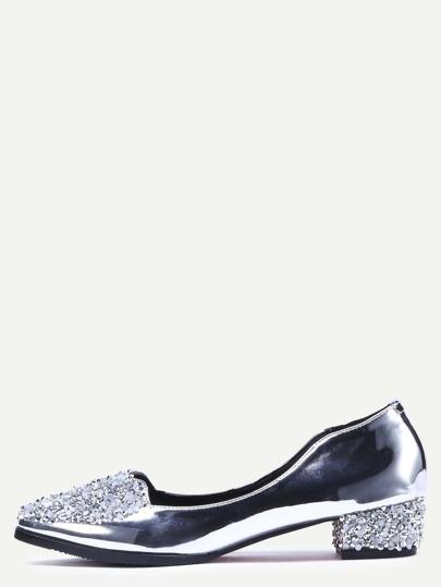 Schuhe Lackleder Pailletten - silber