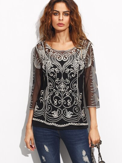 Black Sheer Embroidery Blouse With Cami Top