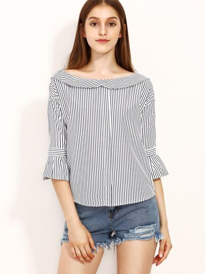 White Striped Ruffle Sleeve Blouse