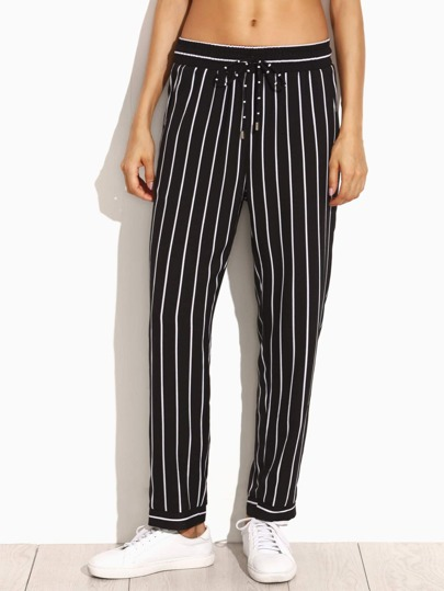 Black Vertical Striped Drawstring Tapered Pants