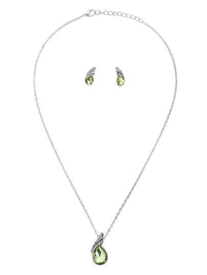 Green Rhinestone Water Drop Jewelry Set