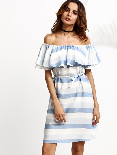 Blue Striped Shirred Off The Shoulder Self Tie Ruffle Dress