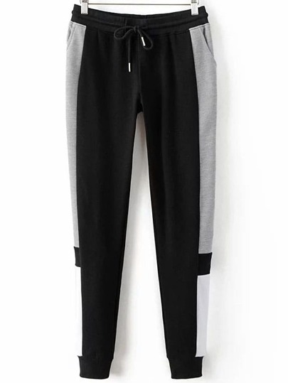 Black Color Block Drawstring Waist Sports Pants