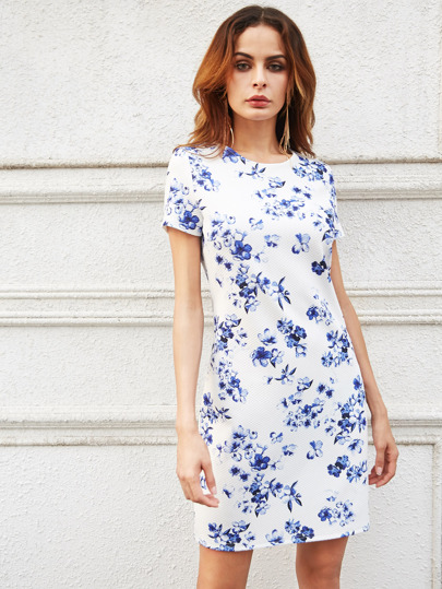 White Flower Print Textured Sheath Dress