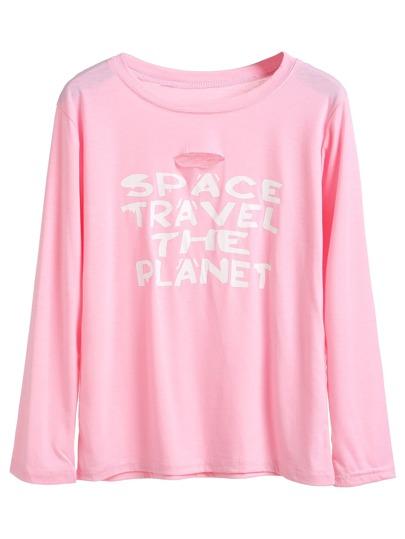Pink Slogan Print Ripped T-shirt