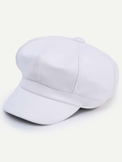 White Faux Leather Octagonal Cap