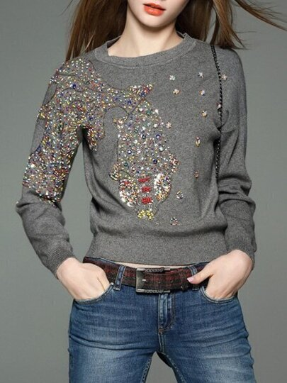Grey Fish Beading Knit Sweatshirt