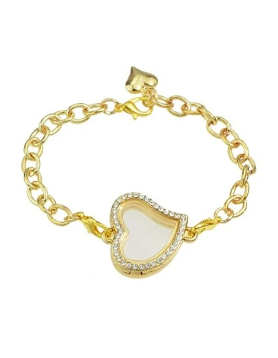 Gold Chain Bracelet With Stone Heart