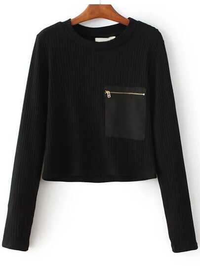 Zipper Pocket Ribbed Knit Sweater