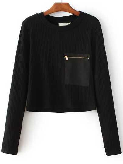 Jersey de canalé cremallera bolsillo - negro