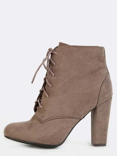 Faux Suede Lace Up Booties TAUPE