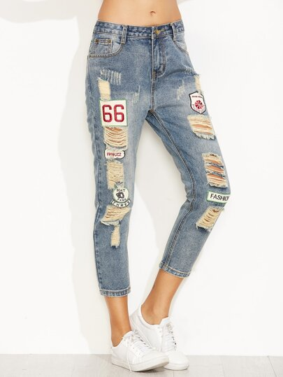Jeans Patch Strappati Ricamati Patch - Blu
