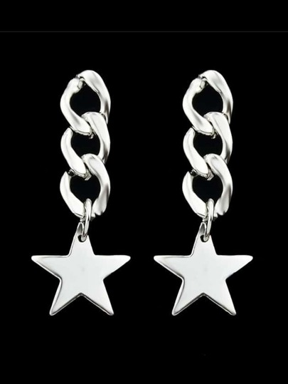 Silver Color Long Chain Star Pendant Earrings