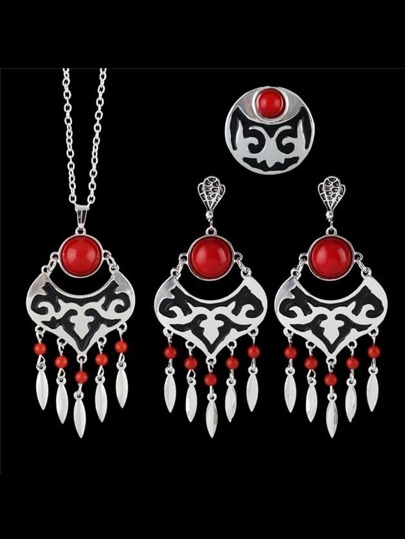 Red Wedding Jewelry Imitation Gemstone Necklace Earring Ring Set
