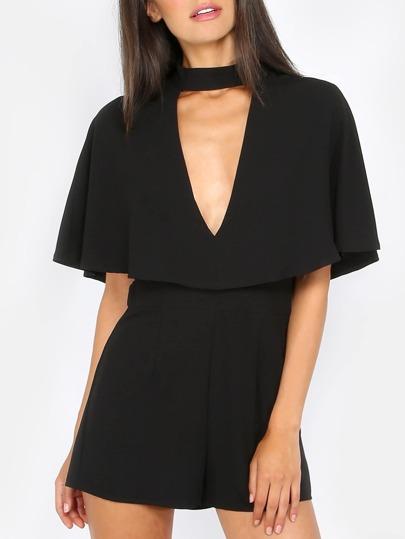 Plunge Flutter Sleeve Playsuit BLACK