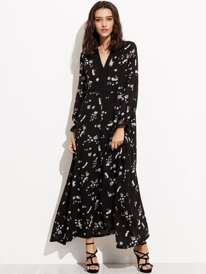 Black Floral Print Elastic Hem Maxi Chiffon Dress
