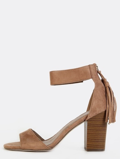 Faux Suede Fringe Chunky Heels NATURAL