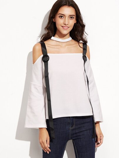 Color Block Halter T-shirt With Strap