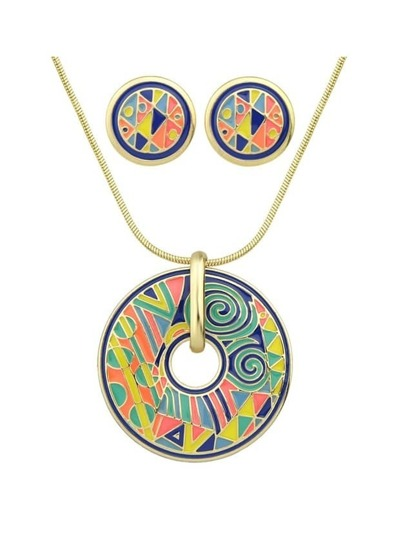 Yellow Geometric Pattern Round Necklace Earrings Set
