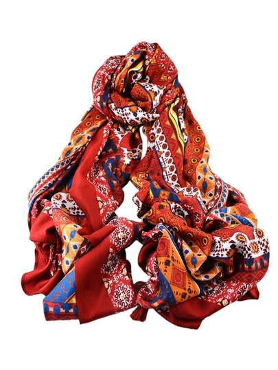 Red New Arrival Printed Cotton Soft Wide Scarf For Ladies