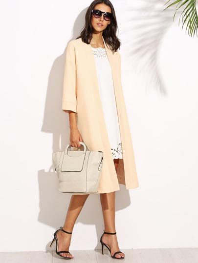 Apricot 3/4 Sleeve Open Front Collarless Duster Coat