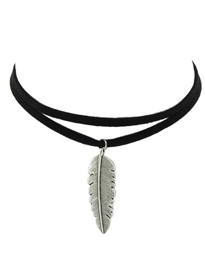 Black Pu Leather Feather Pendant Choker Necklace