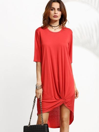 Red Twist Hem High Low Tee Dress