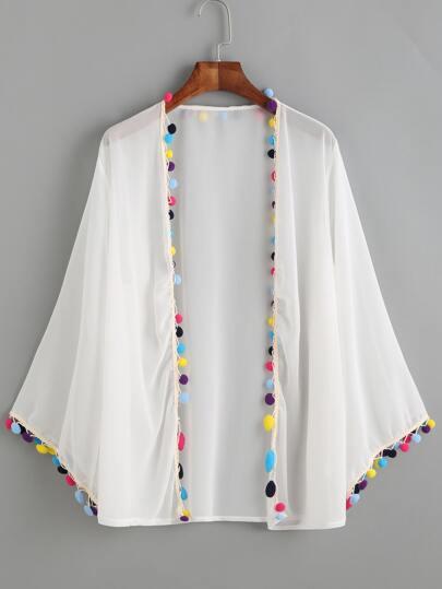 White Pom Pom Chiffon Kimono