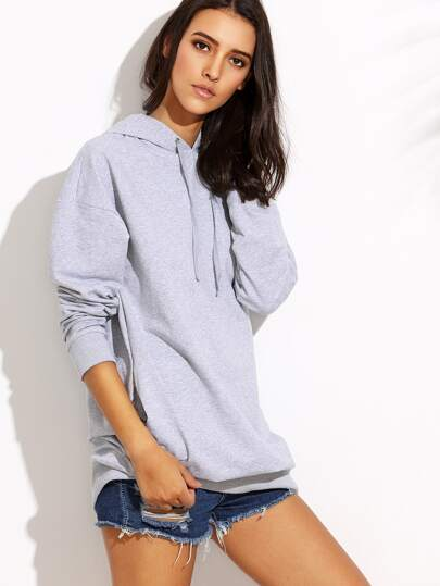 Grey Hooded Drop Shoulder Long Sleeve Sweatshirt