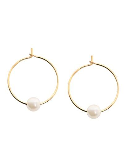 Gold Plated Faux Pearl Hoop Earrings