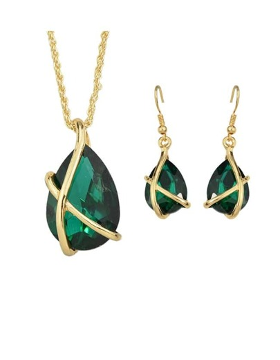 Green Crystal Pendant Jewelry Set