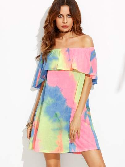Tie-dye Off The Shoulder Ruffle Shift Dress