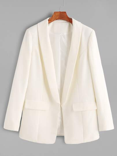White Shawl Collar Open Front Blazer