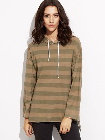 Contrast Striped High Low Hooded Sweatshirt