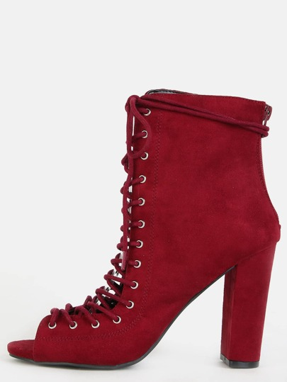 Faux Suede Lace Up Booties BURGUNDY