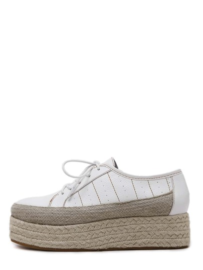 White Round Toe Lace Up Espadrille Wedges