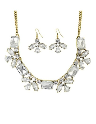 White Rhinestone Flower Jewelry Set