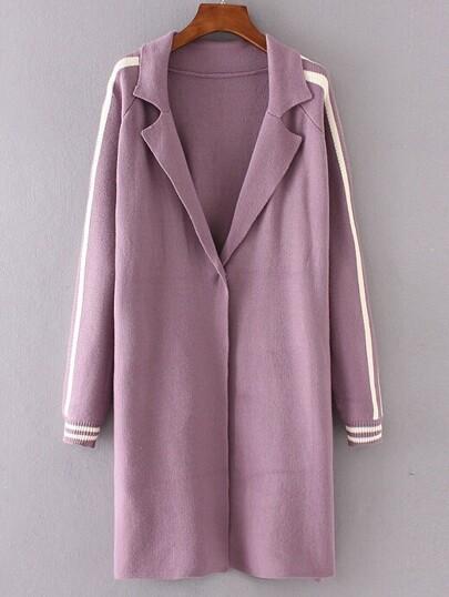 Purple Striped Raglan Sleeve Sweater Coat