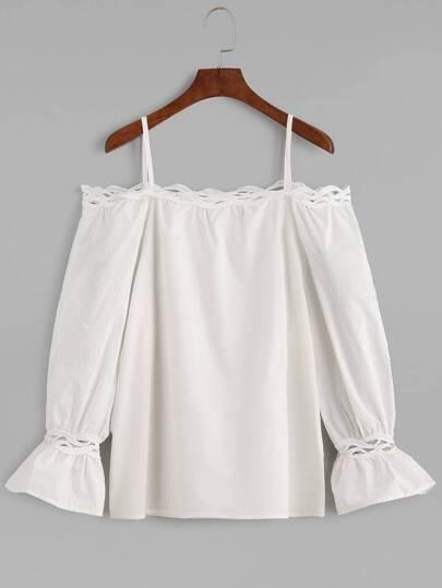 White Cold Shoulder Crochet Trim Top