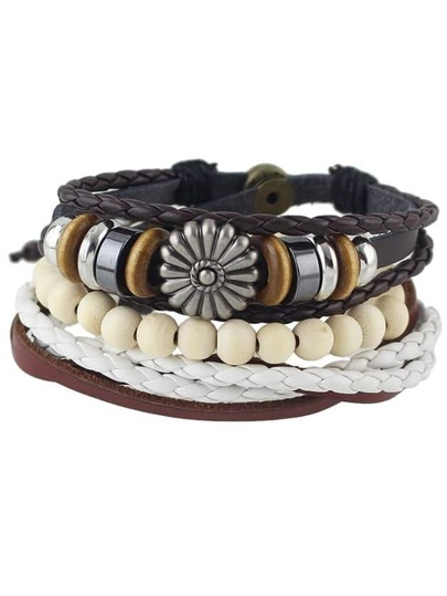 Multilayers Beads Pu Leather Braided Bracelet