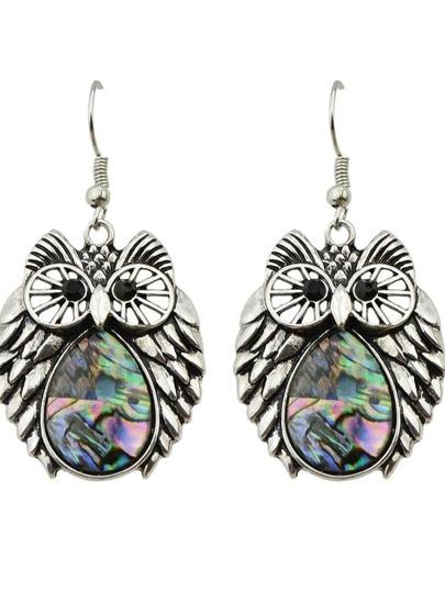 Ethnic Style Colorful Stone Owl Pendant Earrings