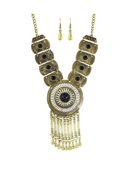 Black Costume Indian Design Rhinestone Statement Necklace Drop Earrings Set