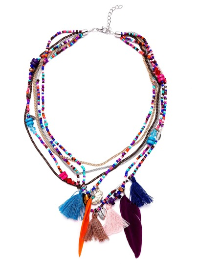 Multicolor Tassel Feather Layered Beaded Statement Necklace
