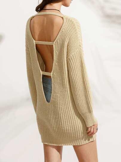 Pullover Langarm mit Cut-outs am Rücken - aprikose