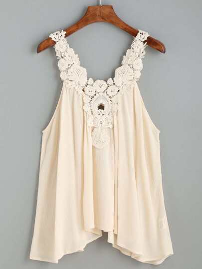 Apricot Crochet Lace Pleated Top