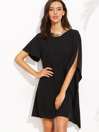 Black Round Neck Split Sleeve Asymmetrical Dress