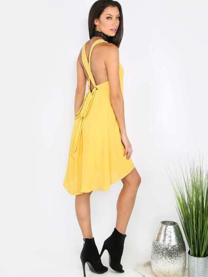 Eyelet Bow Tie Shift Dress MUSTARD