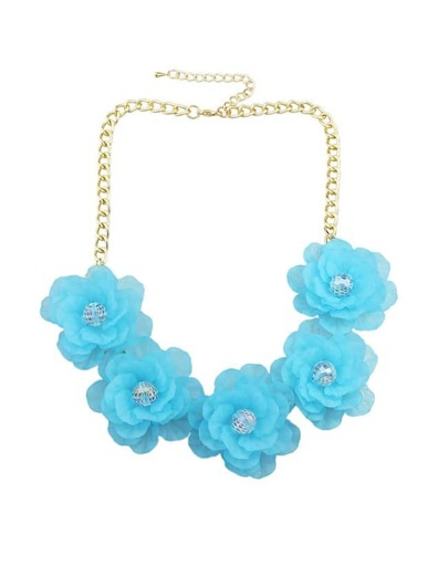 Blue Chunky Resin Flower Necklace